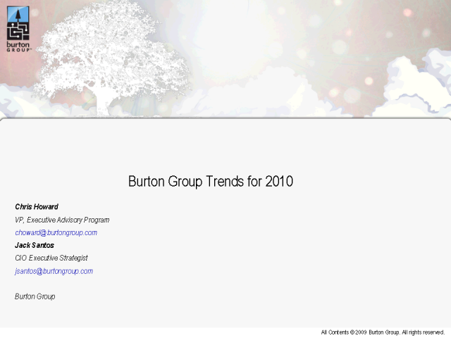 Burton Group Trends for 2010