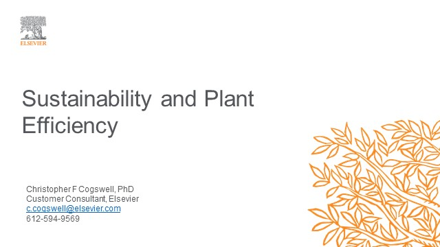 Sustainability and Plant Efficiency