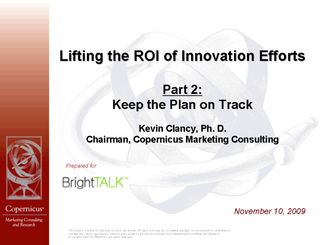 Lifting the ROI of Innovation Efforts: Keep the Plan on Track