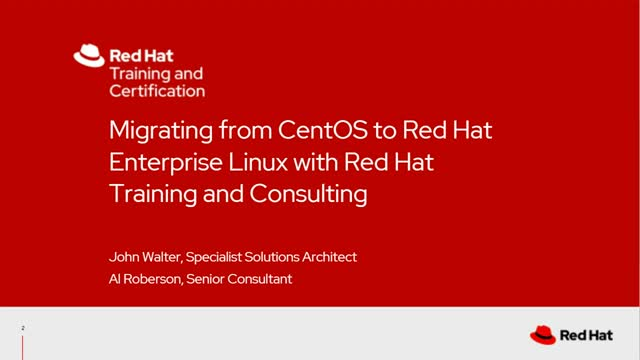 Migrating from CentOS to Red Hat Enterprise Linux with Red Hat Training and Red