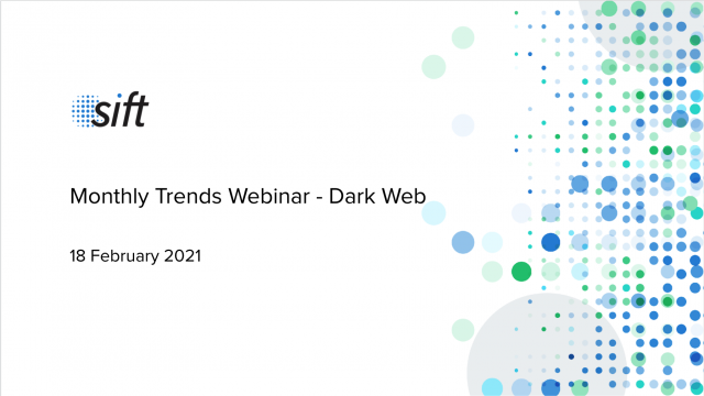 A dive into the dark web with Sift