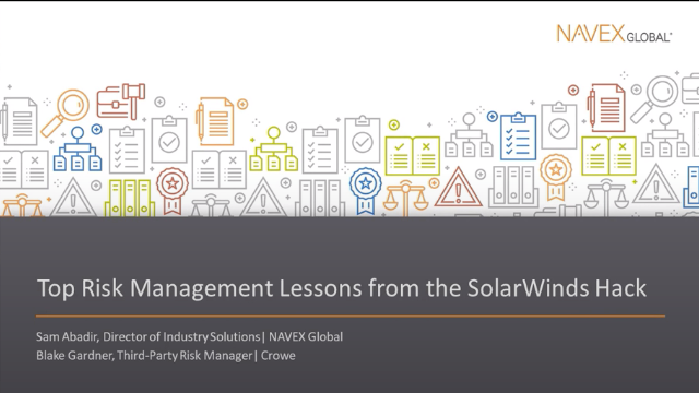 Top Risk Management Lessons from the SolarWinds Hack