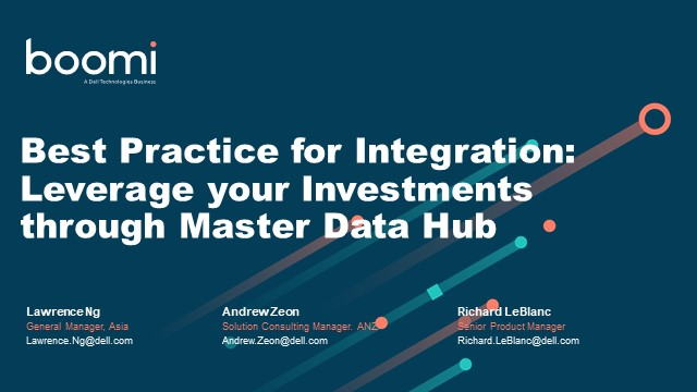 Best Practice for Integration: Leverage your Investments through Master Data Hub