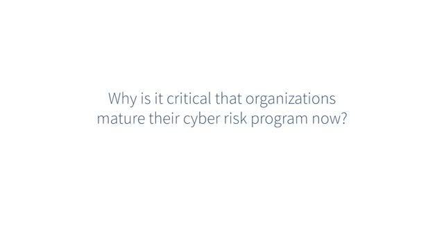 Ask the Expert: Why is it critical that organization mature their cyber risk pro