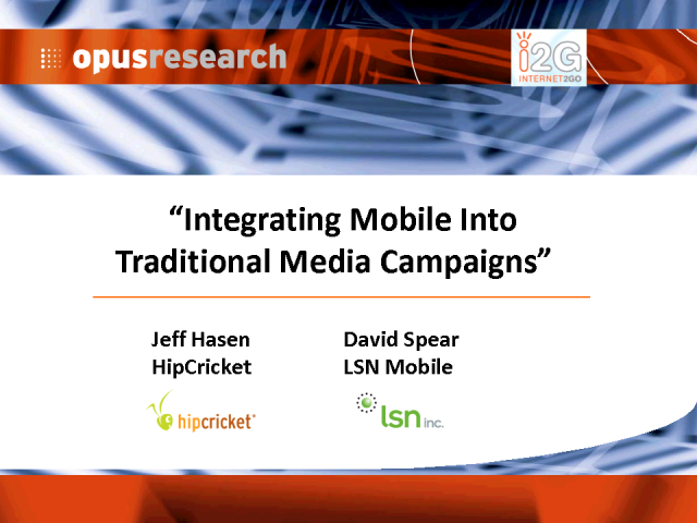 Integrating Mobile into Traditional Media Campaigns