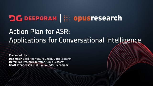 Action Plan for ASR: Applications for Conversational Intelligence