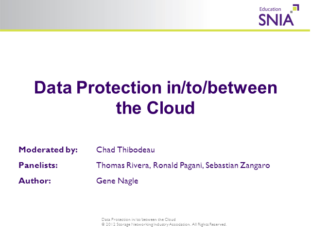 Data Protection in, to and between the Cloud