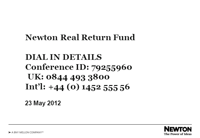 Newton Real Return Fund - a multi-asset ourtsourcing solution