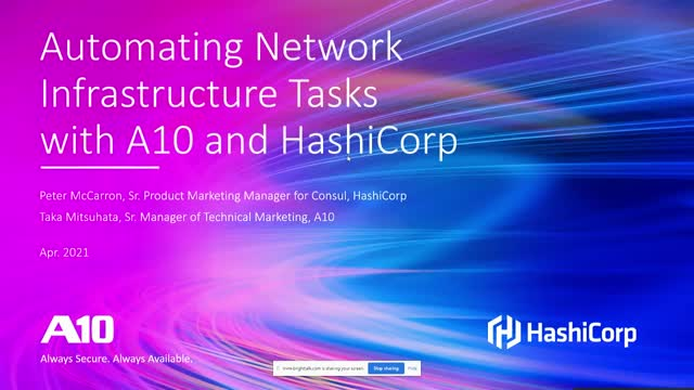 Automating Network Infrastructure Tasks with A10 and HashiCorp
