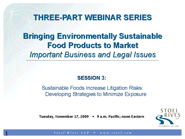 Sustainable Foods Increases Litigation Risks