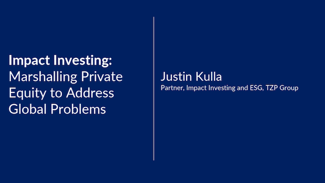 Impact Investing: Private Equity to Address Global Problems