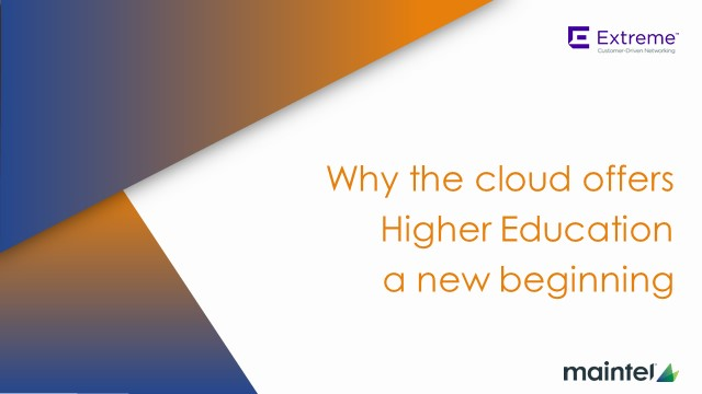 Why the cloud offers Higher Education a new beginning