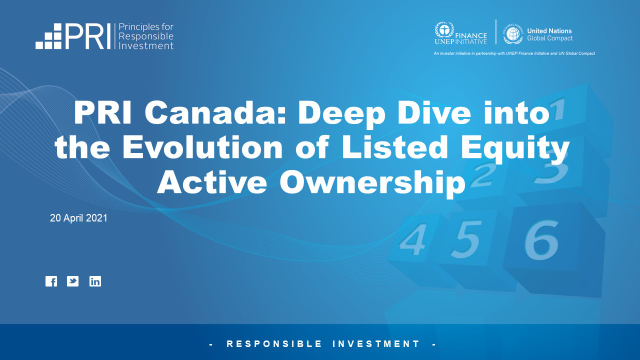 PRI Canada: Deep Dive into the Evolution of Listed Equity Active Ownership