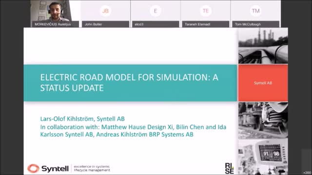 Electric Road Model for Simulation: A Status Update