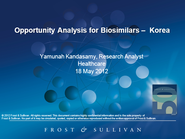 Opportunity Analysis for Biosimilars –  Korea