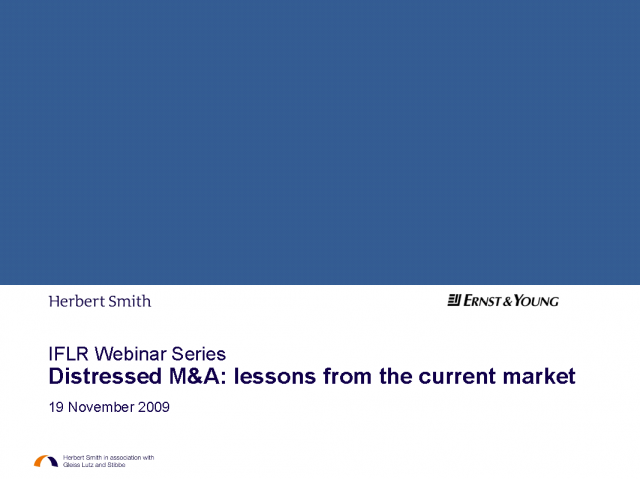 Distressed M&A - lessons from the current market