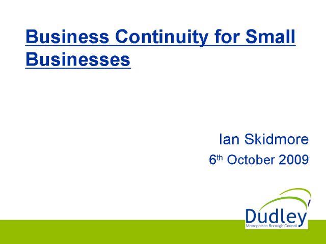 Business Continuity: Small Business