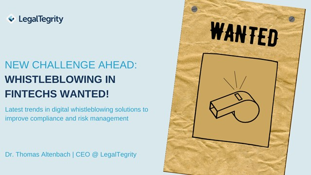 New Challenge Ahead: Whistleblowing in FinTech-SMEs Wanted