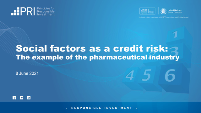 Social Factors as a Credit Risk: The Example of the Pharmaceutical Industry