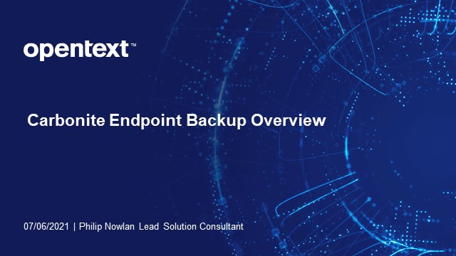 Carbonite Endpoint Product Demo