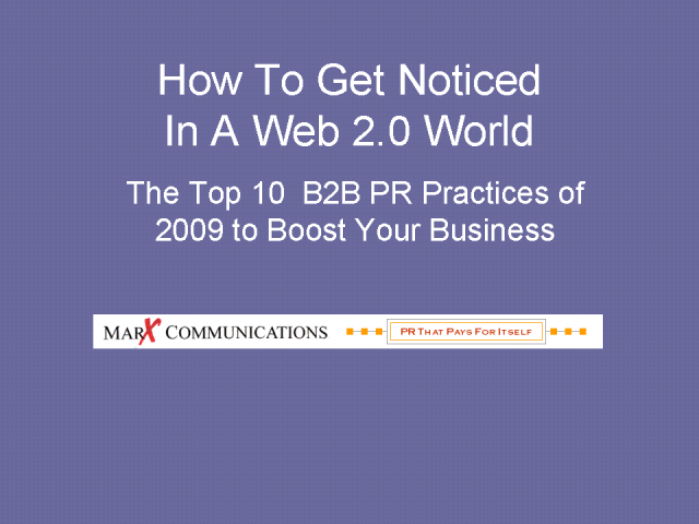Top 10 Best B2B PR Practices in 2009
