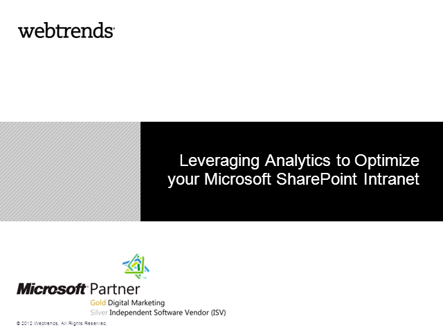 Using Analytics to Optimize your SharePoint Intranet
