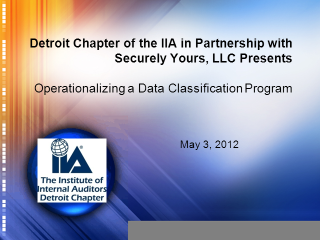 Information Security Series: Operationalizing the data classification program