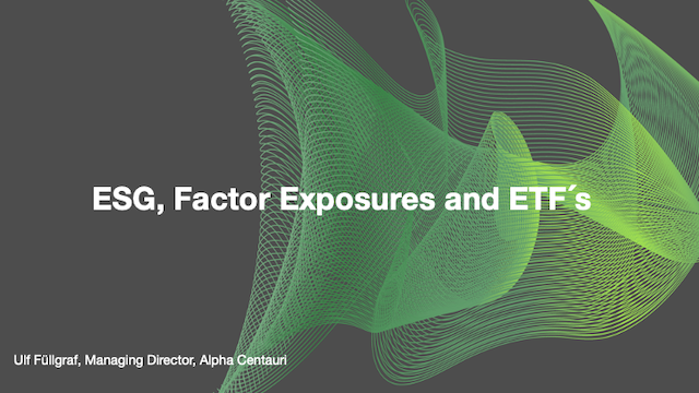 ESG, Factor Exposures and ETF´s