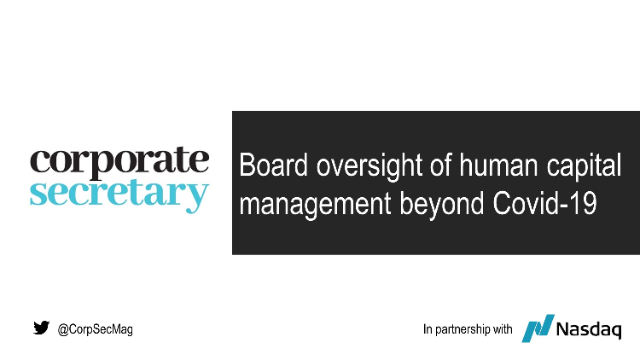 Webinar – Board oversight of human capital management beyond Covid-19