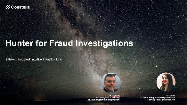 Hunter for Fraud Investigations - Efficient, targeted, intuitive investigations