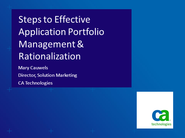 Steps to Effective Application Portfolio Management & Rationalization