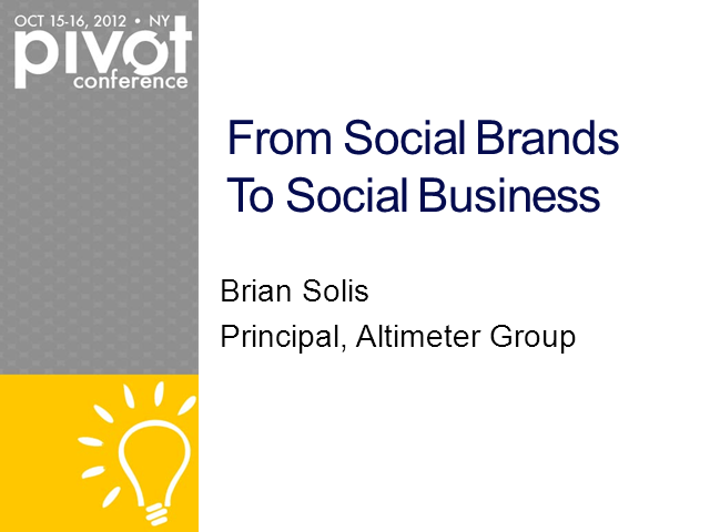 From Social Brands to Social Business