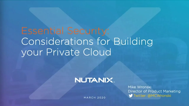 Building your Private Cloud - Why Security can no Longer be an Afterthought
