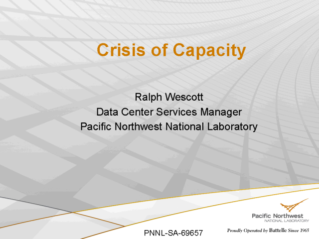 PNNL Case Study: Crisis of Capacity – How we went Green