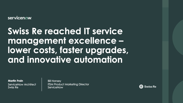 Swiss Re reached IT Service Management excellence