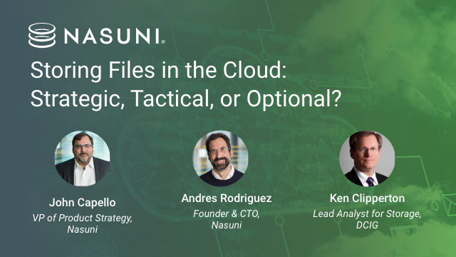 Storing Files in the Cloud:Strategic, Tactical, or Optional?