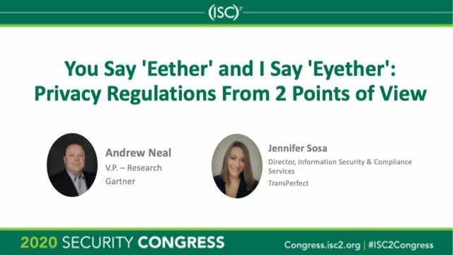 You Say 'Eether' and I Say 'Eyether': Privacy Regulations from 2 Points of View