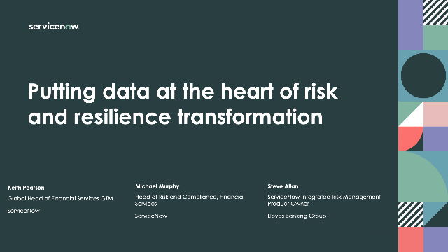 Putting data at the heart of risk and resilience transformation