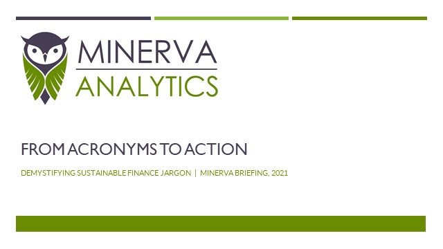 Minerva Briefing - Acronyms to Action: Demystifying Sustainable Finance Jargon