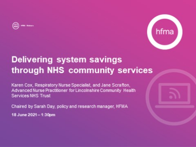 Delivering system savings through NHS community services