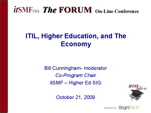 ITIL, Higher Ed, and The Economy