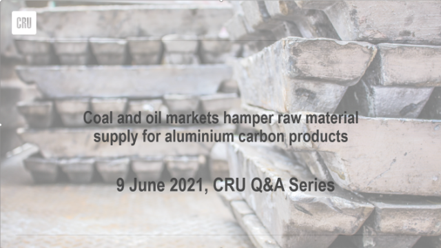 Coal and oil markets hamper raw material supply for aluminium carbon products