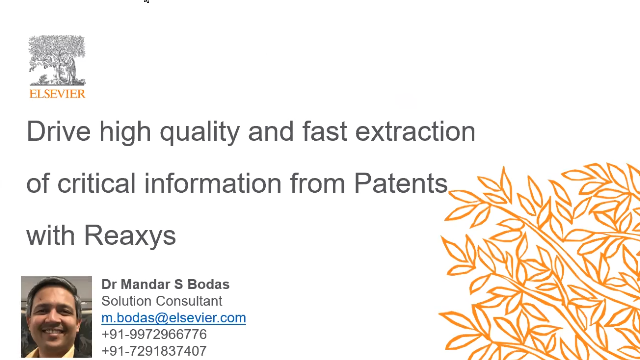 High quality critical information from Patents with Reaxys