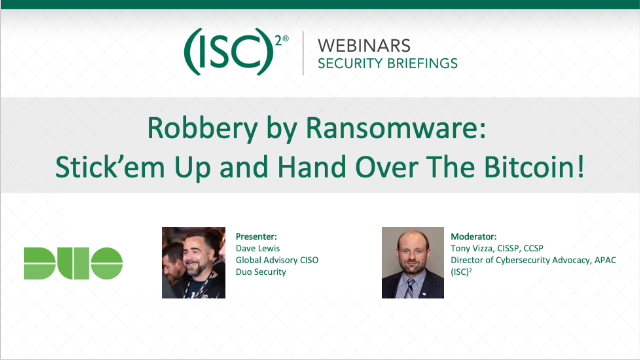 Robbery by Ransomware: Stick'em Up and Hand Over The Bitcoin!