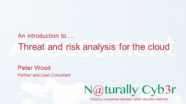 Threat and Risk Analysis for the cloud