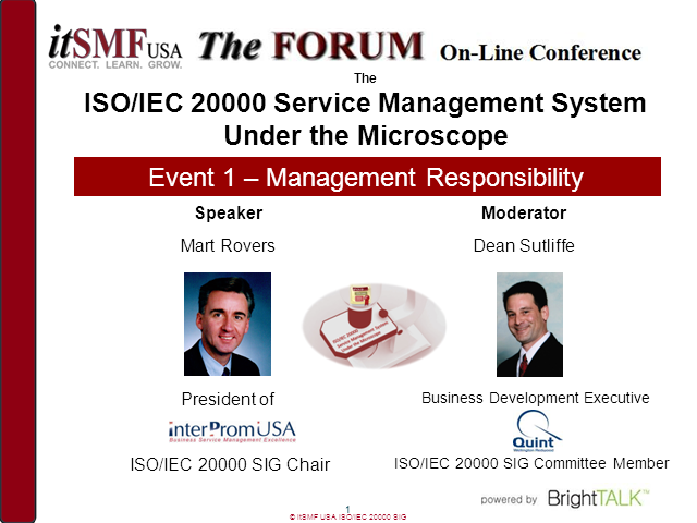 itSMF SIG: ISO/IEC 20000 SMS Under the Microscope – Management Responsibility