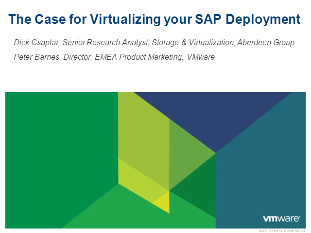 The Case for Virtualizing SAP