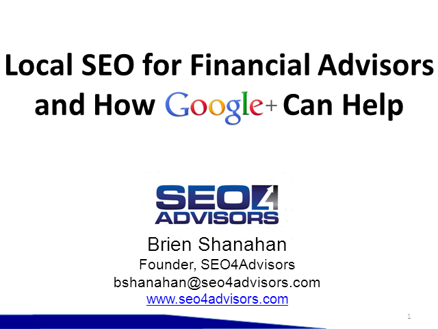 Local SEO for Financial Advisors and How Google+ Can Help