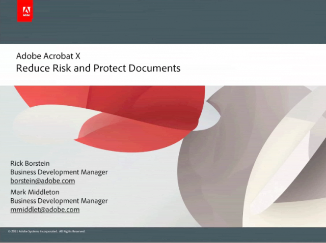 Adobe Acrobat X: Reduce Risk and Protect Documents
