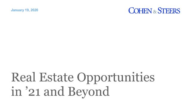 Real Estate Opportunities in '21 and Beyond